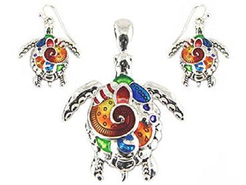 My Prime Gifts Sea Turtle Art Design Large Bail Pendant Enhancer & Earring Set