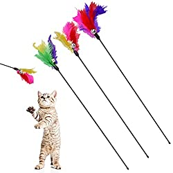 powerful BINGPET cat toy colors are teaser and cat and kitten trainer sticks, 3 pieces
