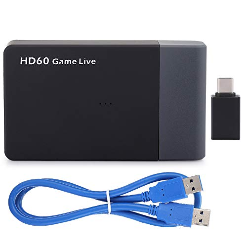 ASHATA Video Capture Card, USB3.0 Game Live Broadcast Box Microfooningang 4K Mobiele telefoon High Definition Video Capture Card ezcap261M, High Speed ​​Video Capture Box met HD Output Interface