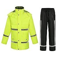 オートバイレインスーツ、安全反射強い防水通気性フード付き大人のサイクリングレインコート男性女性,グリーン,4XL