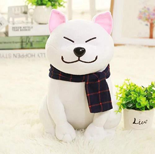 LANKOULI Haustier Spielzeug Tragen Sie Schal Shiba Inu Hundespielzeug Weiches Angefülltes Hundespielzeug Gute Valentinsgrußgeschenke Für Freundin-25 cm Weiß