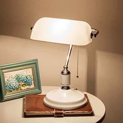 Lfixhssf bureau bankerlamp, 36 cm, glas, wit, lampenkap wit
