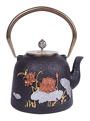 Review Cast Iron Teapot, 1.2L Chinese Handmade Teapot Healthy Cast Iron Teapot Good Business Gifts P...