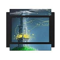 静かな夜の灯台fuying絵 デスクトップフォトフレーム画像ブラックは、芸術絵画7 x 9インチ