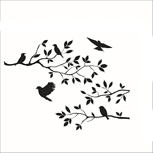 ZZLLFF Etiqueta engomada de la Pared Árbol DIY Removible Arte Vinilo Etiquetas de Pared Decoración de la decoración Árbol Aves de Pared Arte de la Pared Decoración del hogar
