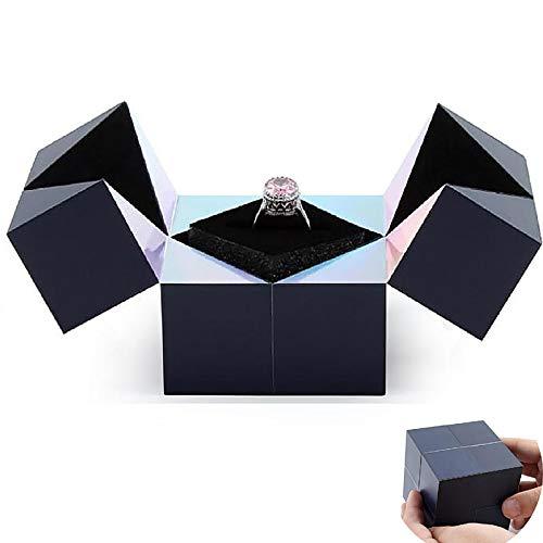 Ubrand Caja de joyería de Rompecabezas Creativo, Caja de Anillo de Boda de Cubo mágico de propuesta, Caja de Anillo de joyería Creativa giratoria de Cubo para Mujeres