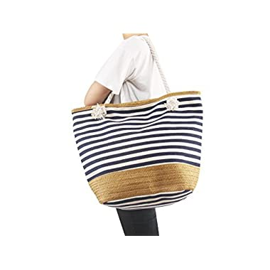 AmyHomie Large size straw striped canvas beach bag, zip pocket travel bag, Christmas gift