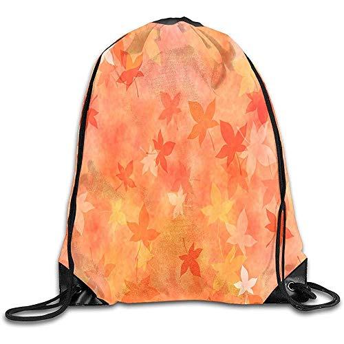 hgfyef Tragetasche mit Kordelzug, Rucksack mit japanischem orangefarbenem Blättermotiv, für Erwachsene