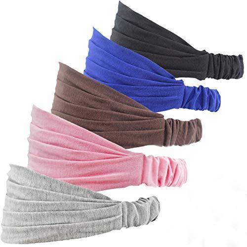 BEIFON 5 Stück Damen Stirnband Elastische Haarband Kopftuch 5 Farben Stirnbänder Kopfband breite Stirnbänder für Gesichtern Yoga SPA Sport Make-up Wellness