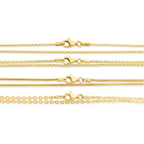 Kette vergoldet 38cm ❤️ Kette aus 925 Sterling Silber ❤️ Kugelkette Erbsenkette Ankerkette Schlangenkette ❤️ Goldkette für Anhänger für Kinder & Frauen 38cm lang kurze Gold Babykette