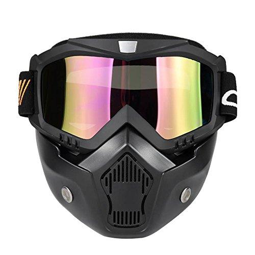 KKmoon Gafas Desmontable Mascara del Moto Filtro de Boca para Cascos Abierto Media Cara de Motocross£¨Negro, Lente Coloria