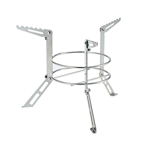 Lixada Portable Collapsible Stainless Steel Camping Alcohol Stove Rack Stove Stand Support with Alcohol Stove (Rack M)