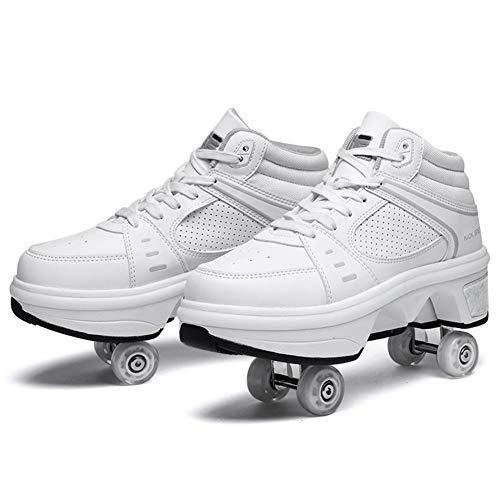 WJJ Patines Invisibles Zapatos De Caminata Automáticos Zapatos De Polea Invisibles Patines Zapatos De Rodillo Masculino Y Femenino Doble Fila De La Rueda De Deformación Zapatos De Patinaje para Niños
