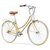 sixthreezero Ride In The Park Women's 3-Speed Touring City Bike, 700x32C Wheels/17' Frame, Cream, 17'/One Size