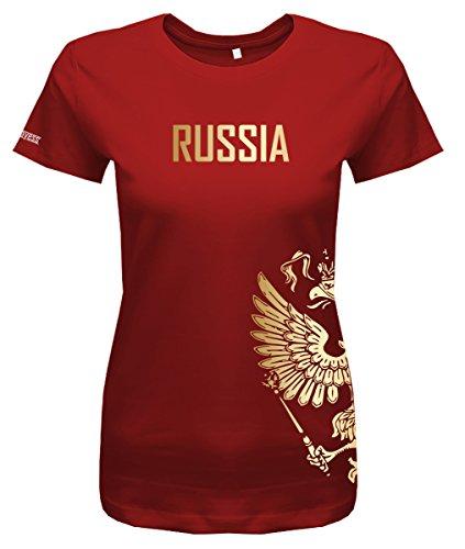 Jayess WM 2018 - Russland - Russia - Adler Gold - Fanshirt - Damen T-Shirt in Rot by Gr. L