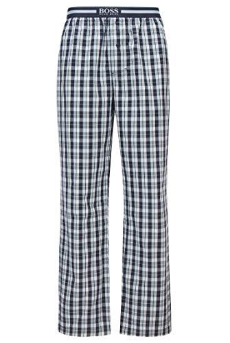 BOSS Herren Urban Pants Pyjama-Hose aus Karierter Baumwolle mit geknöpftem Eingriff