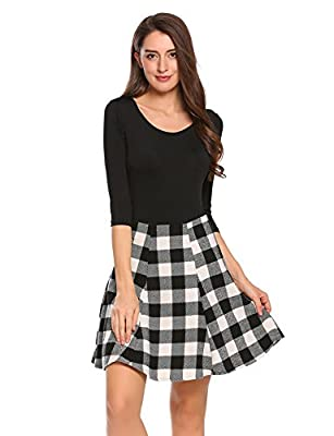 Zeagoo High Waist Plaid A Line Tartan School Skirts for Women
