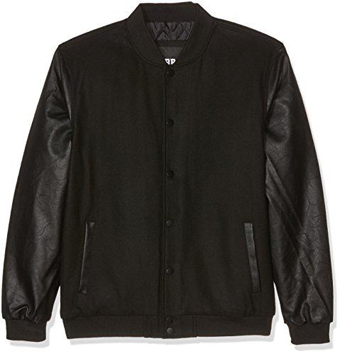 Urban Classics Herren Oldschool College Jacket Giacca, Nero (Blk/Blk 00017), XXL Uomo