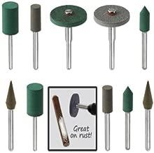 18pc Diamond-in-Rubber Emery Polishing Bit Set - Fits Dremel - Metal, Glass, Stone, Tile