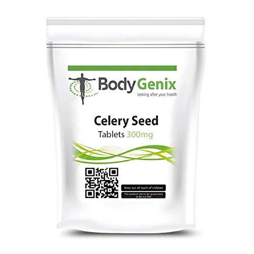Bodygenix Celery Seed Supplement - Hormonal-Balance - Bone and Joint Health - Anti-oxidant Properties - Blood Sugar Levels - Aids Digestion - 300mg Tabs (365 tabs)