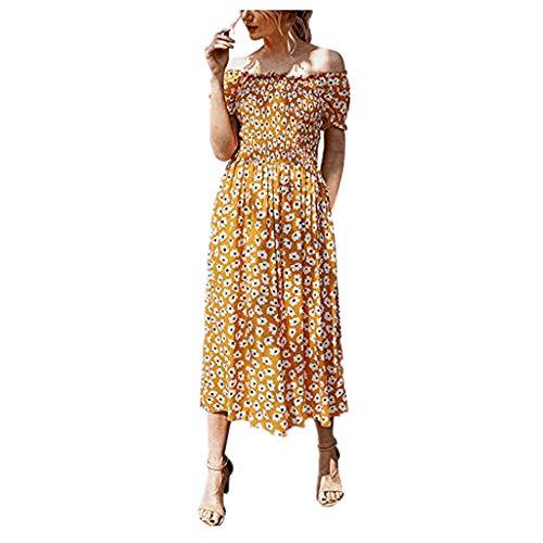 Briskorry kleider damen Mode Blumendruck Rüschen Schulterfrei Kurzarm Sommerkleider Sexy Strandkleider Elegant festliche kleider maxikleid Dress
