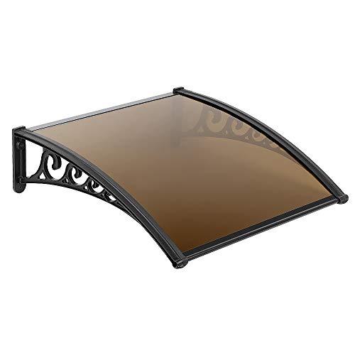 YIZHE Marquesina para Puertas y Ventanas Tejadillo de Protección Toldo Cubierta de Policarbonato en Jardín al Aire Libre Dosel de Techo (Marrón) 80 * 120cm