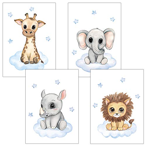 Frechdax® Kinderzimmer Deko 4er Set Poster Baby Wandbilder DIN A4 | Waldtiere Safari Afrika Tiere Tierposter (4er Set Blau, Safari, Wolke, Sterne)