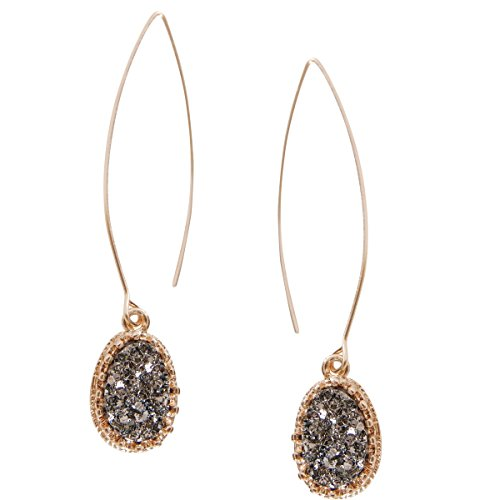 Humble Chic Simulated Druzy Needle Drops - Gold-Tone Threader Upside-Down Hoop Dangle...