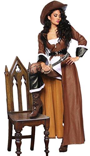 Hochwertiges 8-tlg. Piraten-Kostüm - Karneval Outfit inkl. Mantel,Kleid,Hut,Säbel u.a. - Gr. S - XXL (12633) (L)