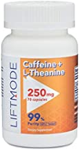 LiftMode Caffeine 100mg + L-Theanine 150mg Capsules (70 count) Pills/Capsules - For Better Mood, Focus, Energy #Top Nootropic Stack Supplement - Weight Loss, Pre Workout, Natural Fat Burner