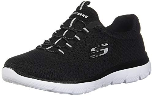 Skechers Women's Summits Sneaker, Black/White, 10 M US