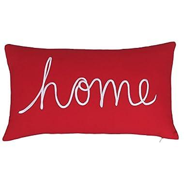 EURASIA DECOR DecorHouzz Home Sentiment Pillow Cover Embroidered Pillow Cases Throw Pillow Decorative Pillow Wedding Birthday 14 x24  (Red)