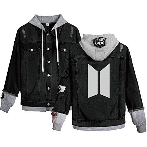 Flyself Unisex Kpop Jeansjacke für Army Langarm Hoodies Pullover Denim Jacket Denim Mantel Kapuzenpullover Suga Jin Jimin Jung Kook J-Hope Rap-Monster V