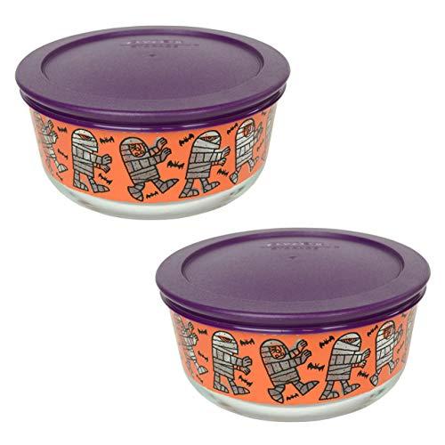 Pyrex (2) 7201 4 Cup Mummy Design Glass Bowls & (2) 7201-PC 4 Cup Purple Plastic Lids