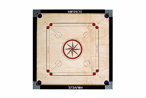 KORNERS Sky Round Pocket Carrom Board with Coins, Striker & Carrom Powder Best Quality (KORNERS Large Size-32 Inches)