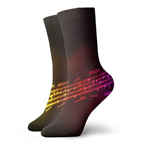 Calcetines de mujer para hombre Notas de música Calcetín atlético arcoíris Cojín anti olor único Calcetín de arranque corto