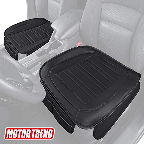 Motor Trend MTSC-420 Universal Car Seat Cushion (Front, 2-Pack) – Padded Luxury Cover with Non-Slip Bottom & Storage Pockets – Black Faux Leather Chair Protector for Auto, Truck & SUV