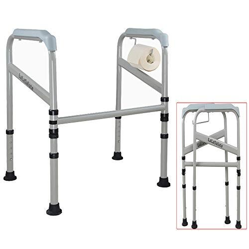 ALY® WC-Sicherheitsgeländer, medizinischer Hilfsrahmen für Badezimmer, zusammenklappbar, mit Toilettenpapierhalter, für ältere und behinderte Personen, Einstellbarer Booster
