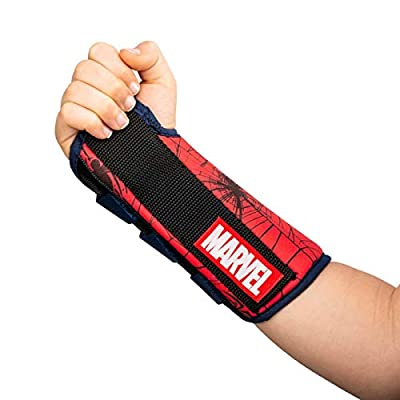 DonJoy Advantage Comfort Wrist Brace for Youth/Kids Featuring Marvels Captain America, Spider-Man to aid sprains strains support tendonitis carpal tunnel - Spider-Man XX-Small - Left