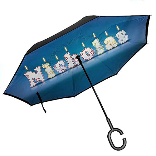 Nicholas Windproof Umbrella Surprise Party for the Birthday Boy Child`s Name with Burning Candles Reverse Long Umbrellas, Outdoor Use for UV Protection & Rain, Blue and Multicolor 42.5'x31.5'Inch