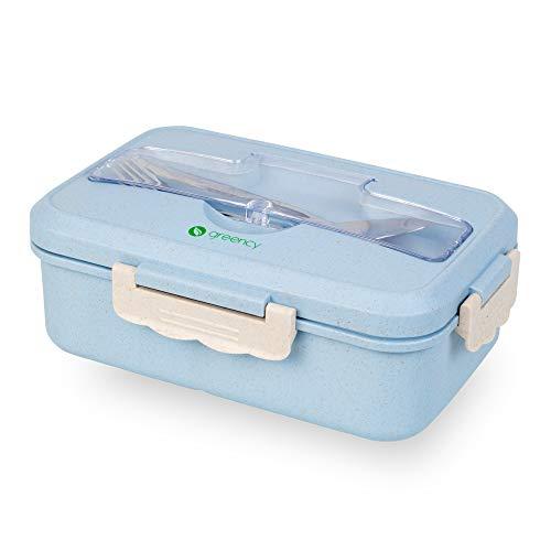 Greency Bento-Box mit 3 Fächern - Meal-Prep-Dose aus Weizenstroh (Bio-Kunststoff) - Robustes Edelstahl-Besteck - Stapelbar, auslaufsicher, für Mikrowelle, Spülmaschine & Gefriertruhe geeignet (Blau)