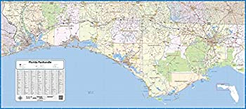 """Florida Panhandle Laminated Wall Map  48"""" Wide by 22"""" high"""