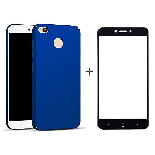BLUGUL Funda Xiaomi Redmi 4X + Protector de Pantalla, Ultra Delgado, Totalmente Protector, Sensación de Seda, Cristal Templado y Dura Cover para Redmi 4X Azul