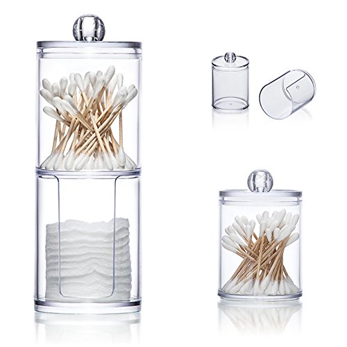 vinmax Cotton Pads Holder Swabs Holder Clear Q-Tips Cotton Pads Double Layer Round Box Bathroom Makeup Containers Organizers-Time Saving