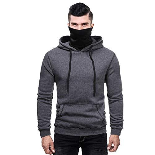 Lachi Sudadera con capucha para hombre con capucha y manga larga, estilo patchwork, informal, con bolsillos de canguro, para el cuello, bandanas hipster gimnasio