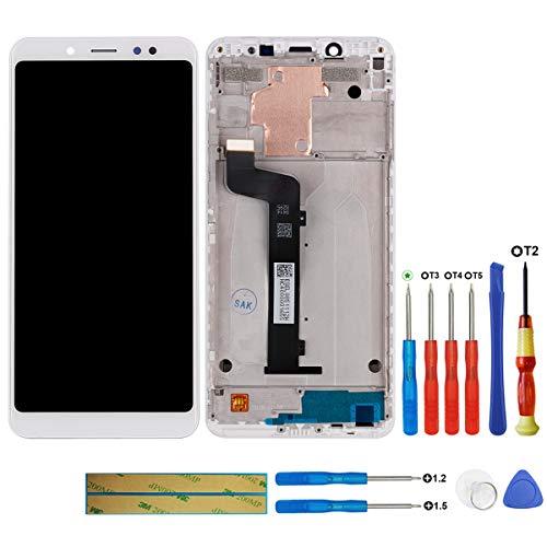 swark Pantalla LCD compatible con Xiaomi Redmi Note 5 (Snapdragon 636) Pantalla táctil digitalizador cristal + herramientas (blanco con marco)