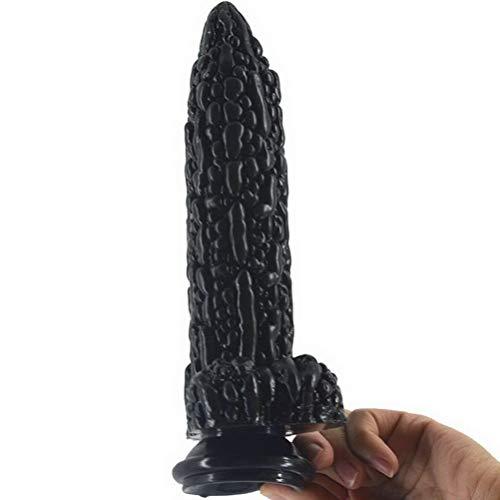 Dǐldǒ grǒß, 20.7cm Saug-weiches Spielzeug Taille Naturgetreue Selbst Werkzeuge Wand Vergnügen Schwarz Relax Simulation Big LYL824