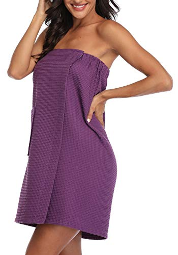 Women's Waffle Spa Bath Wrap Towel Adjustable Closure Ultra Absorbent Cover Up,Purple,Large/X-Large