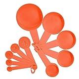 Cuchara medidora 10pcs 7 Copas de medición del color y la medición de mango de una cuchara de cocina de silicona cucharada herramienta de medición (Color : Orange)