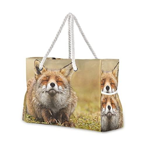 Bolsa de playa The Smiling Fox Bolsa de hombro con asas de cuerda con cremallera para viajes, playa, gimnasio